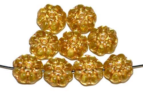 Best.Nr.:50266  Glasperlen Blüten,  hellgelb transp. mit Golgauflage,  hergestellt in Gablonz / Tschechien