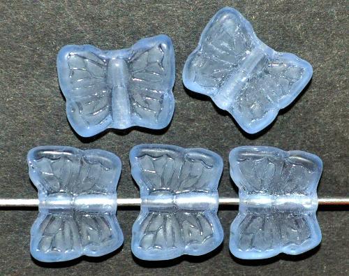 Best.Nr.:51002 Glasperlen Schmetterlinge  aqua transparent mattiert, hergestellt in Gablonz / Tschechien