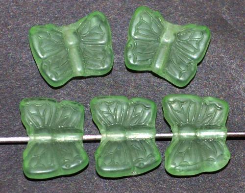 Best.Nr.:51003 Glasperlen Schmetterlinge  grün transparent mattiert,  hergestellt in Gablonz / Tschechie