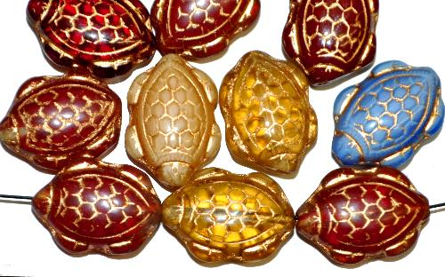Best.Nr.:51139 Glasperlen Schildkröte,  Vorder-und Rückseite geprägt,  Farbmix mit Goldauflage,  hergestellt in Gablonz / Tschechien