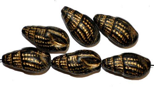 Best.Nr.:51040 Glasperlen Schnecke geprägt, schwarz mattiert mit Goldauflage,  hergestellt in Gablonz / Tschechien