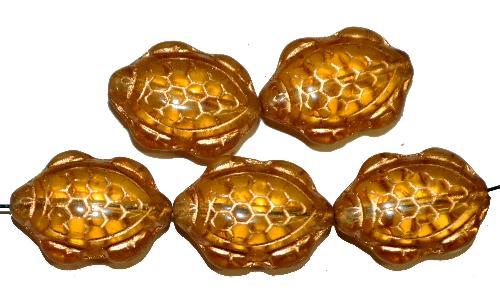 Best.Nr.:51062 Glasperlen Schildkröte,  Vorder-und Rückseite geprägt,  topas mit Goldauflage,  hergestellt in Gablonz / Tschechien