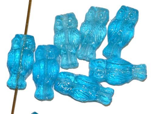 Best.Nr.:51081 Glasperlen Eule hellblau transp., Vorder-und Rückseite geprägt, hergestellt in Gablonz / Tschechien