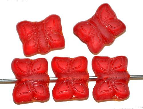 Best.Nr.:51091  Glasperlen Schmetterlinge  rot transp. mattiert, Vorder-und Rückseite geprägt, hergestellt in Gablonz / Tschechien