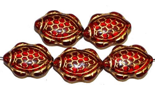 Best.Nr.:51120 Glasperlen Schildkröte,  Vorder-und Rückseite geprägt,  dunkelrot transp. mit Goldauflage,  hergestellt in Gablonz / Tschechien
