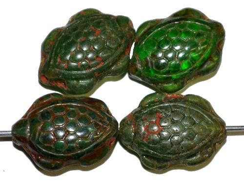 Best.Nr.:51121 Glasperlen Schildkröte,  Vorder-und Rückseite geprägt,  mit picasso finish, hergestellt in Gablonz / Tschechien