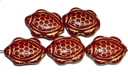 Best.Nr.:51134 Glasperlen Schildkröte,  Vorder-und Rückseite geprägt,  dunkelrot opak mit Goldauflage,  hergestellt in Gablonz / Tschechien