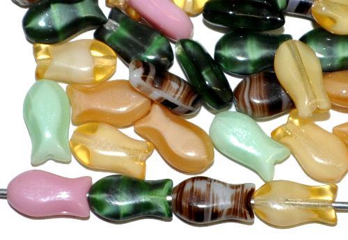 Best.Nr.:51136 Glasperlen,  ein Schwarm bunter Fischchen,  hergestellt in Gablonz / Tschechien  Vorder-und Rückseite geprägt