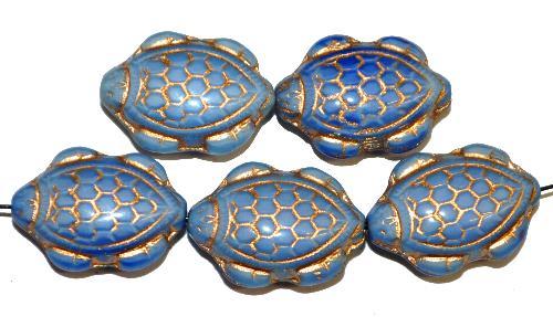 Best.Nr.:51138 Glasperlen Schildkröte,  Vorder-und Rückseite geprägt,  hellblau mit Goldauflage,  hergestellt in Gablonz / Tschechien