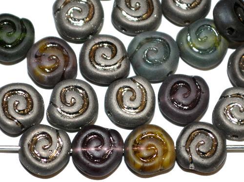 Best.Nr.:51147  Glasperlen Schneckenhaus Vorder-und Rückseite geprägt, Farbmix eine Seite mit metallic finish,  hergestellt in Gablonz / Tschechien