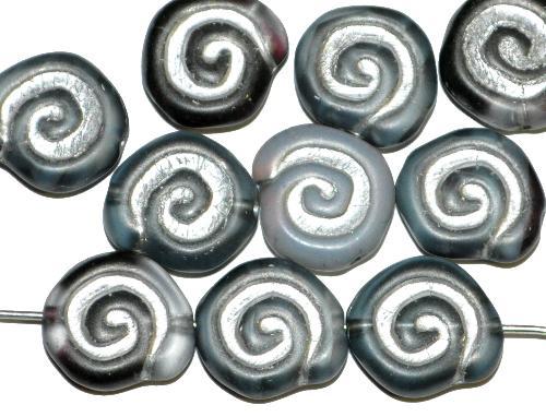 Best.Nr.:51154  Glasperlen Schneckenhaus Vorder-und Rückseite geprägt, Farbmix mit Silberauflage,  hergestellt in Gablonz / Tschechien