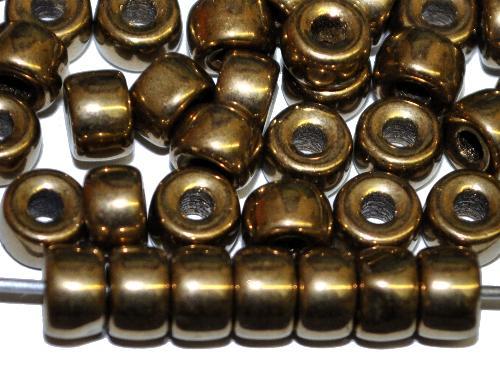 Best.Nr.:52028 Glasperlen Ringe, Spacer,   metallic finish messing,  hergestellt in Gablonz / Tschechien