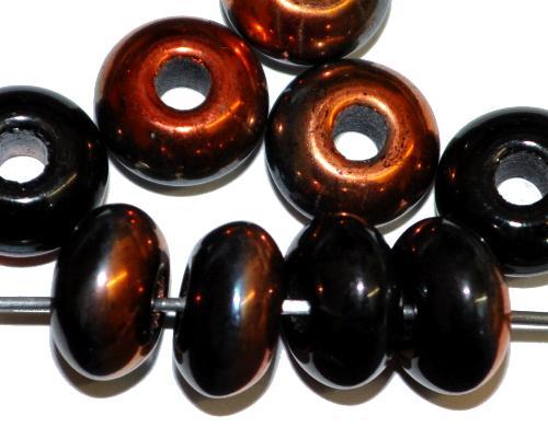Best.Nr.:52038 Glasperlen Linse  schwarz mit metallic finish,  hergestellt in Gablonz / Tschechien