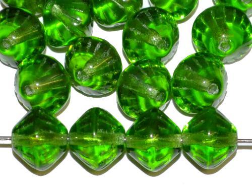 Best.Nr.:53019 Glasperlen Doppelkegel  grün transp., hergestellt in Gablonz / Tschechien