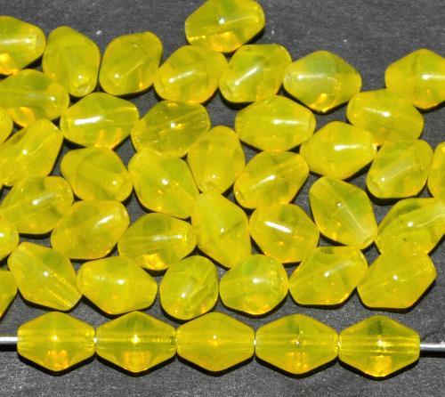 Best.Nr.:53040 Glasperlen Doppelkegel, Opalglas gelb, hergestellt in Gablonz / Tschechien