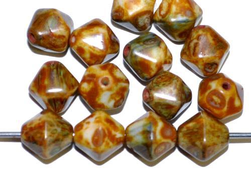 Best.Nr.:54012 Glasperlen Doppelpyramide sechskantig  mit picasso finish,  hergestellt in Gablonz / Tschechien