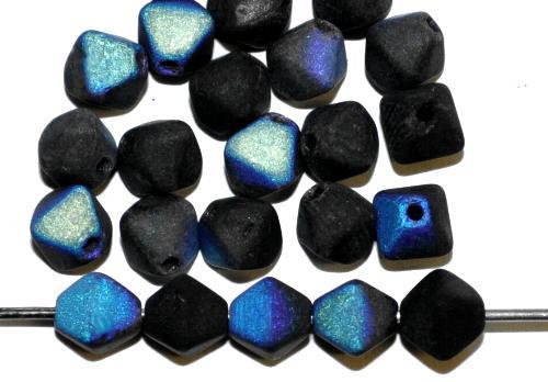 Best.Nr.:54013 Glasperlen Doppelpyramide schwarz matt mit AB, hergestellt in Gablonz / Tschechien