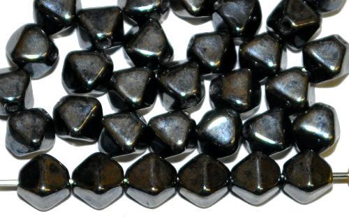 Best.Nr.:54070 Glasperlen Doppelpyramide schwarz mit lüster, hergestellt in Gablonz / Tschechien