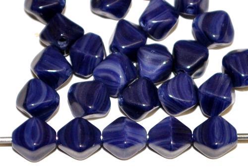 Best.Nr.:54098 Glasperlen Doppelpyramide vierkantig dunkelblau marmoriert, hergestellt in Gablonz / Tschechien