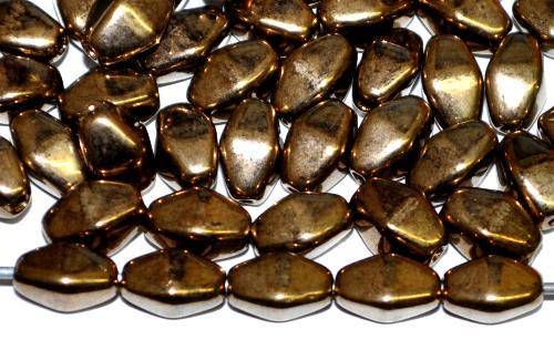 Best.Nr.:54108 Glasperlen Doppelpyramide,  metallic finish messing,  hergestellt in Gablonz / Tschechien