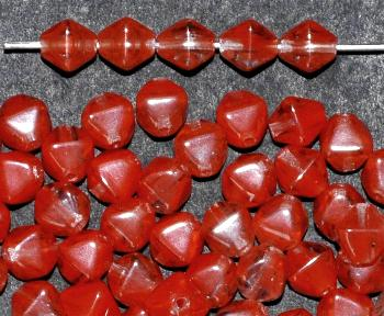 Best.Nr.:54121 Glasperlen Doppelpyramide vierkantig hellrot