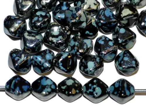 Best.Nr.:54122 Glasperlen Doppelpyramide schwarz mit picasso finish,, hergestellt in Gablonz / Tschechien