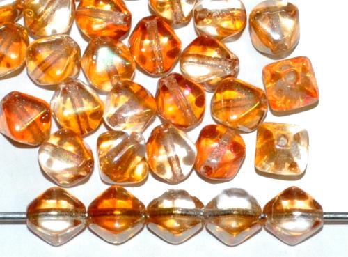 Best.Nr.:54127 Glasperlen Doppelpyramide zweifarbig topas kristall mit AB lüster, hergestellt in Gablonz / Tschechien