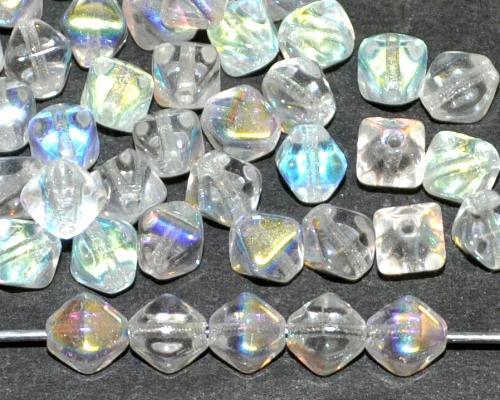 Best.Nr.:54137 Glasperlen Doppelpyramide kristall mit AB, hergestellt in Gablonz / Tschechien