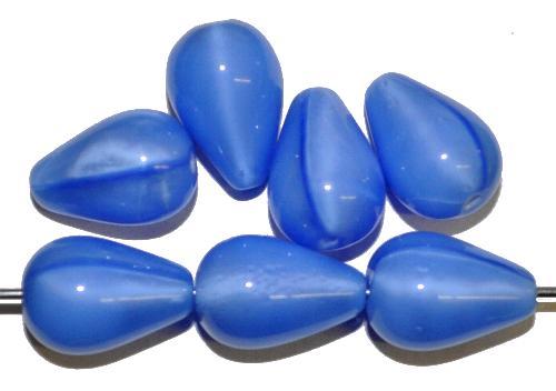 Best.Nr.:55003 Glasperlen Tropfen  Perlettglas mittelblau,   hergestellt in Gablonz / Tschechien