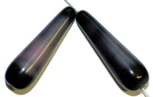 Best.Nr.:55042 Glasperlen / Tropfen schwarz altrosa, hergestellt in Gablonz / Tschechien