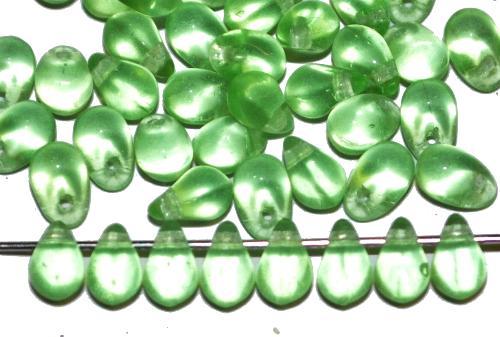 Best.Nr.:55046 GlasperlenTropfen  hellgrün transp., hergestellt in Gablonz Tschechien