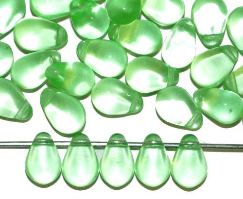 Best.Nr.:55067 Glasperlen Tropfen grün transp. Uranglas, hergestellt in Gablonz Tschechien
