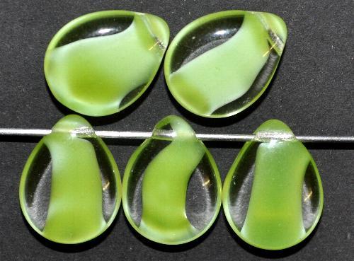 Best.Nr.:55075 Glasperlen / Tropfen flach kristall hellgrün,  hergestellt in Gablonz / Tschechien