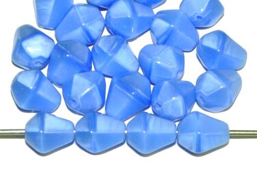 Best.Nr.:55083 Glasperlen Tropfen kantig Perlettglas mittelblau, hergestellt in Gablonz / Tschechien