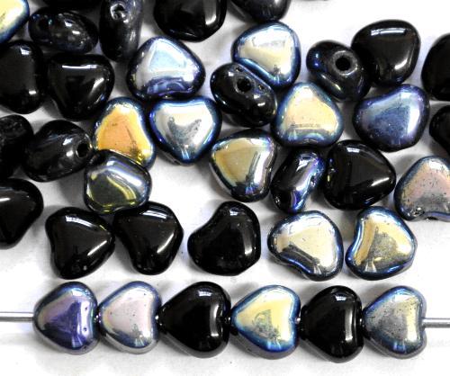 Best.Nr.:56009 Glasperlen Herzen  schwarz mit AB,  hergestellt in Gablonz / Tschechien