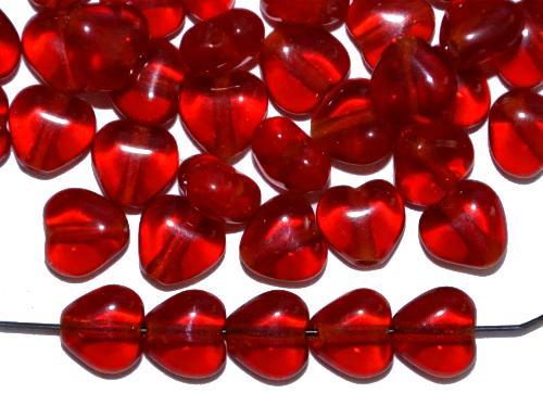 Best.Nr.:56029 Glasperlen Herzen rote transp., hergestellt in Gablonz / Tschechien
