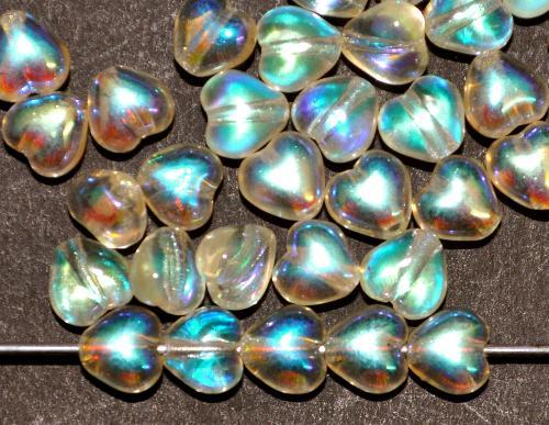 Best.Nr.:56044 Glasperlen Herzen  sehr helles gelb mit AB, hergestellt in Gablonz / Tschechien