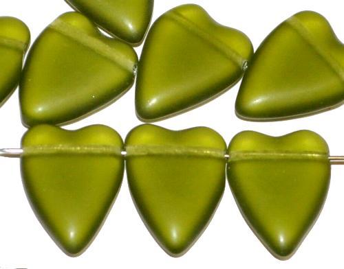 Best.Nr.:56050 Glasperlen Herzen  olivgrün mattiert,  hergestellt in Gablonz / Tschechien