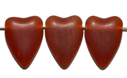 Best.Nr.:56069 Glasperlen Herzen  alabasterbraun mattiert,  hergestellt in Gablonz / Tschechien