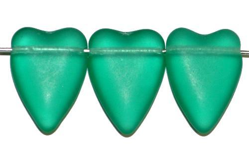 Best.Nr.:56070 Glasperlen Herzen  grün mattiert,  hergestellt in Gablonz / Tschechien