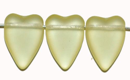 Best.Nr.:56075 Glasperlen Herzen  gelb mattiert,  hergestellt in Gablonz / Tschechien