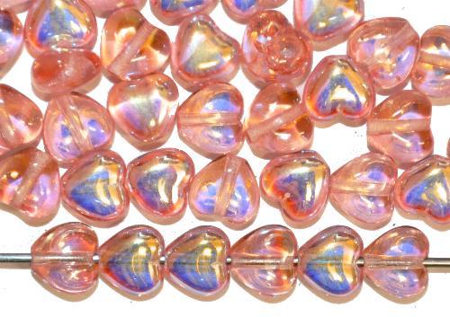 Best.Nr.:56077 Glasperlen Herzen  rosa transp. mit AB,  hergestellt in Gablonz / Tschechien