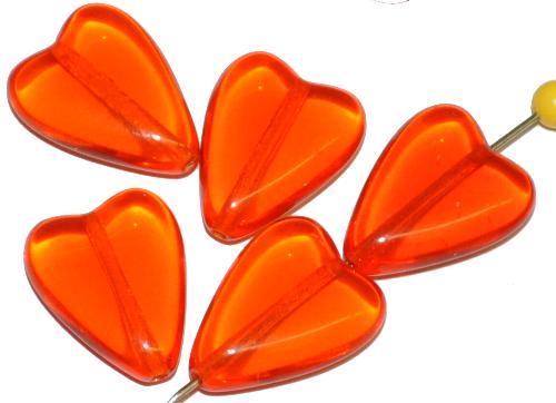Best.Nr.:56091 Glasperlen Herzen  orange transp.,  hergestellt in Gablonz / Tschechien
