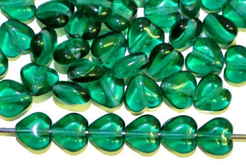 Best.Nr.:56094 Glasperlen Herzen  smaragdgrün tramsp.,  hergestellt in Gablonz / Tschechien