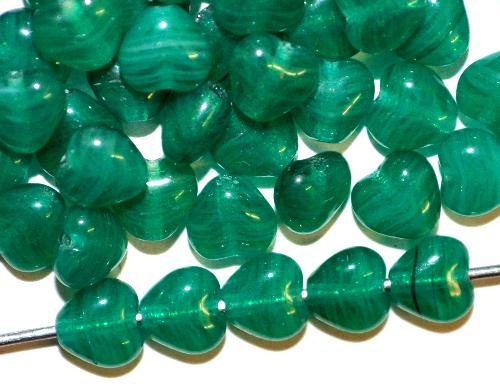 Best.Nr.:56127 Glasperlen Herzen russisch grün