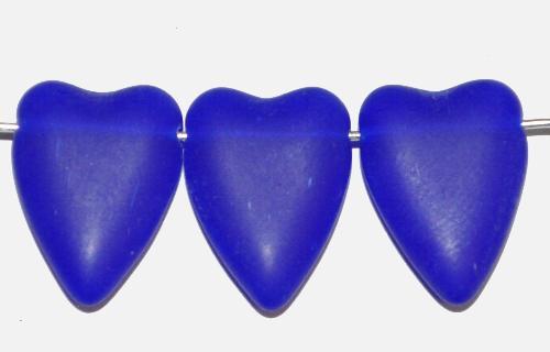 Best.Nr.:56131 Glasperlen Herzen  blau mattiert,  hergestellt in Gablonz / Tschechien