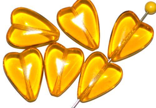 Best.Nr.:56146 Glasperlen Herzen  gelb transp.,  hergestellt in Gablonz / Tschechien