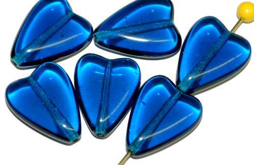 Best.Nr.:56147 Glasperlen Herzen  montanablau transp.,  hergestellt in Gablonz / Tschechien
