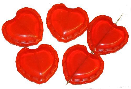 Best.Nr.:56148 Vintage style Glasperlen Herzen, hellrot transp., nach alten Vorlagen aus den 1930/40 Jahren  neu gefertigt