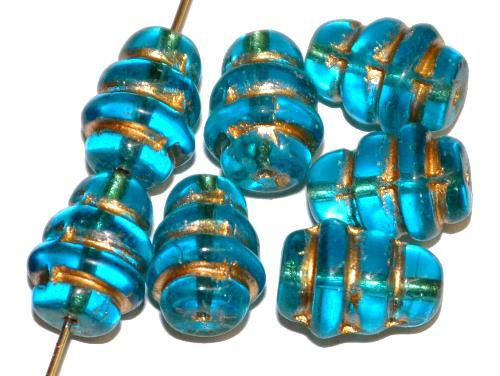 Best.Nr.:57164 Glasperlen Bienenkorb hellblau transp. mit Goldauflage hergestellt in Gablonz / Tschechien